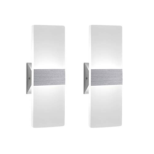 Modern Wall Sconce 12W, Set of 2 LED Wall Lamp Cool White,...