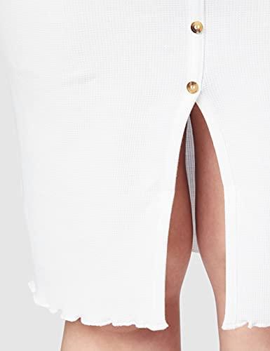 Marca Amazon - find. Vestido Midi Ajustado de Punto Mujer, Blanco (White), 42, Label: L