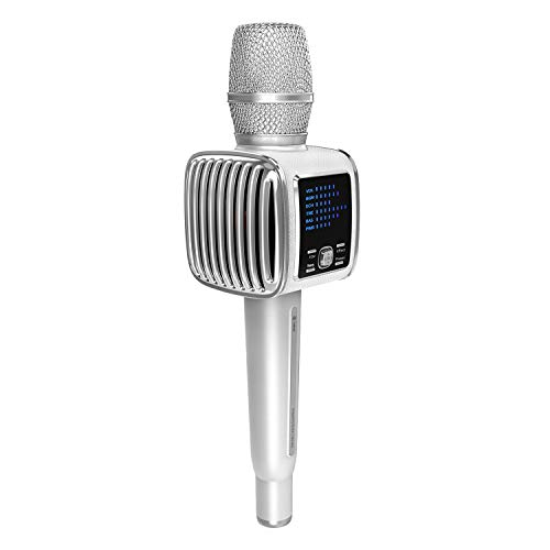 TOSING G6 Microfono Karaoke Bluetooth,10 W di potenza del volume più alto, più bassi, 3 in 1 Microfono portatile wireless a doppio altoparlante per Android/PC (bianco)