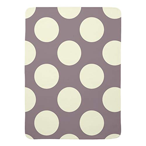 Throw Blanket for Baby Fleece Blankets Large Polka Dots Cream On Purple Swaddle Lightweight Ultra Soft for All Season Farmhouse Decorative Blanket for Crib Stroller