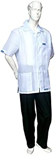 BARBERSHOP-BOYS 60'S 3 POCKET BARBER JACKET ULTRALIGHT NYLON POLY FABRIC HAIR REPELLENT ALL SIZES (BABY BLUE)