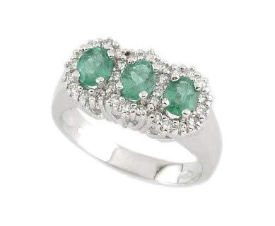 Gems&Gold srl Anillo de Oro Blanco con Diamantes y Piedras Preciosas Esmeralda rubí Zafiro