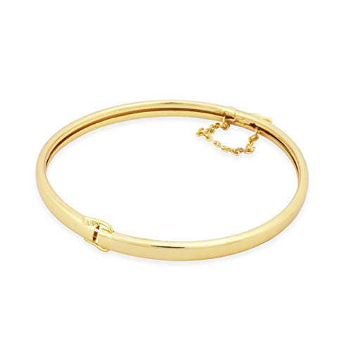New 9 Ct Gold Filled Open Close Classic Bangle with Safety Chain 63mm