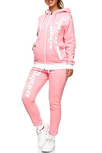 Violento Damen Jogginganzug | ThePower Design 506 (L, Rose/Weiß)
