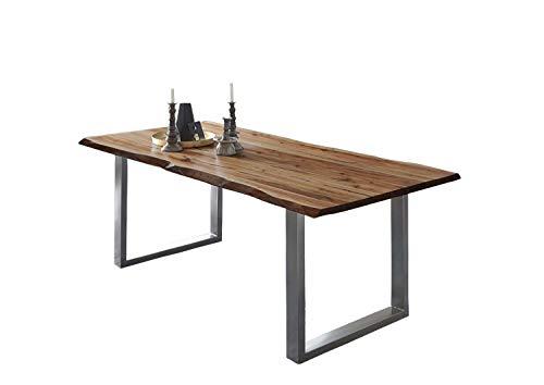 SAM Esszimmertisch 140x80 cm ULM, Baumkantentisch nussbaumfarben, Akazienholz massiv, U-Gestell aus Metall Silber