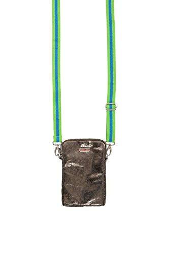 brasi&brasi Handy&Summer Stripe Zip - Funda para móvil y verano, diseño de rayas, color verde