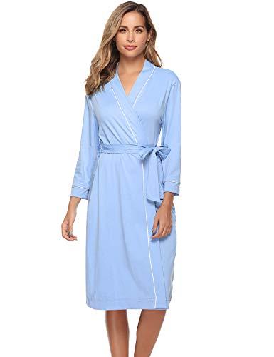 iClosam Damen Bademantel Baumwolle Morgenmantel Langarm Nachthemd Nachtwäsche mit Gürtel Saunamantel Nightwear Klassische Pyjama mit Taschen S-XXL