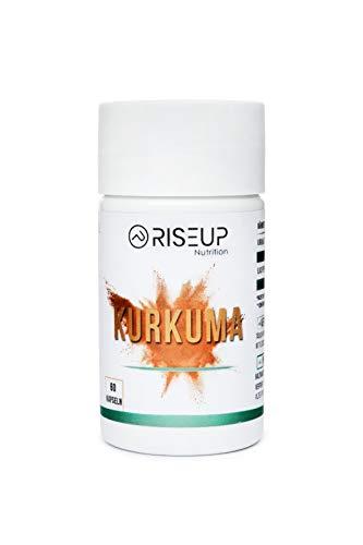 RiseUp Kurkuma Extrakt Kapseln hochdosiert mit 95% Curcuma pro Kapsel - Vegane Kurkuma Wurzel Kapseln gegen Entzündungen & Stress(60 Kapseln)
