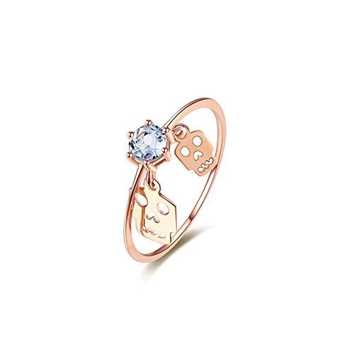 AYDOME Etsy Schmuck Ringe, 18K Rotgold Kyanit Schädel Ring zum Valentinstag Damen 58(18.5)