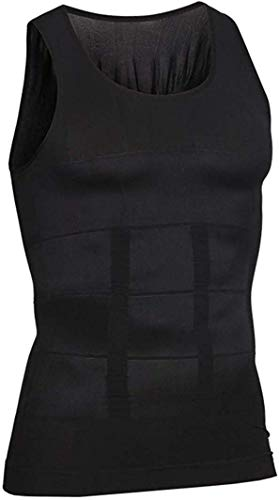 i-select Shapewear Ärmelloses Kompressions-Shirt Taille Fettpolster Tank Top Druckaufbau Innenhemd (EU S/Asia Etikett M, Schwarz)