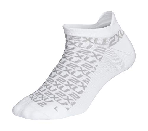 2XU Damen Ankle Socks-WQ53 Socken, White/Glacier Grey, Medium/Large