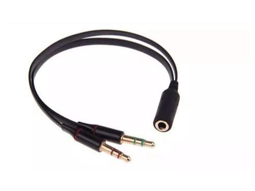 Cabo Adaptador com 2P2 Microfone+Fone Macho p/ P2 Femea (Headset)