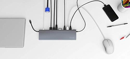 ICY BOX USB-C Docking Station für Windows, 4K HDMI, Mini DisplayPort, VGA, LAN, PowerDelivery, USB 3.0, Kartenleser, Audio, Aluminium, Anthrazit