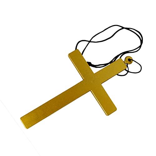 Happyyami 5Pcs Golden Cross Collane Sacerdote Nun Crocifisso Pendente della Collana Accessori Costume di Halloween per I Bambini Uomo