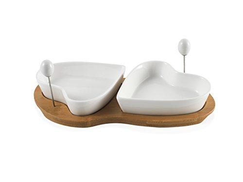 Brandani 55321 Coupelle Antipasti Due Cuori avec Support Porcelaine/Bambou