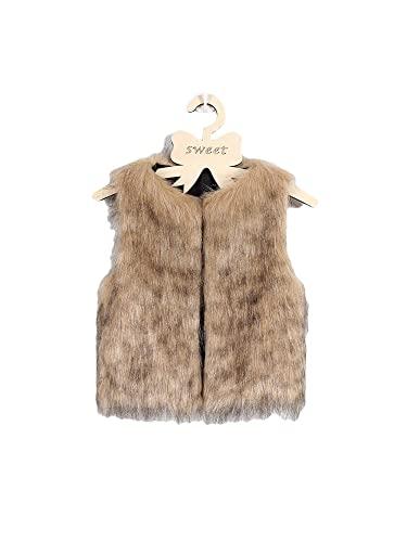 ZYBC Abbigliamento per bambini in pelliccia sintetica, giacca in finta pelliccia, giacca da bambina, gilet spesso, cappotto caldo, senza maniche, da principessa, vestito da principessa