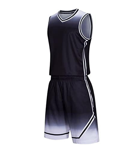 Xygm Juego de camisetas de baloncesto para hombre y niños, universidad, uniforme de baloncesto, ropa deportiva, pantalones cortos, transpirable, color negro, talla XL, para hombre