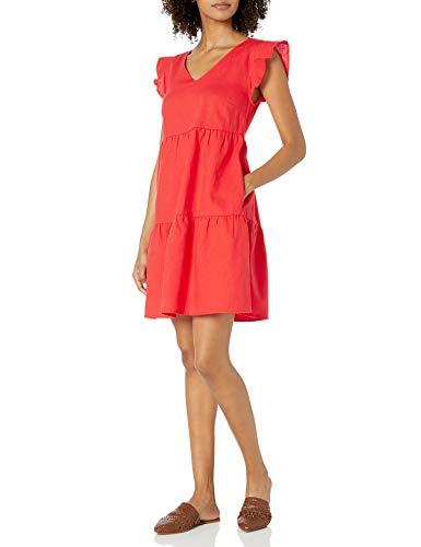 Amazon Brand - Goodthreads Women's Relaxed Fit Washed Linen Blend Flutter Sleeve Peasant Dress, Red, Medium