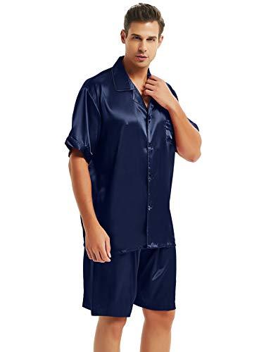 Herren Seide Schlafanzug Kurz Blau Medium