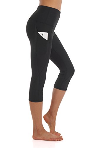 ZEROGSC Women's Yoga Pants - Workout Running Tummy Control Stretch Power Flex Long/Capris Leggings with Out Pockets (YPW112-Black-Small)
