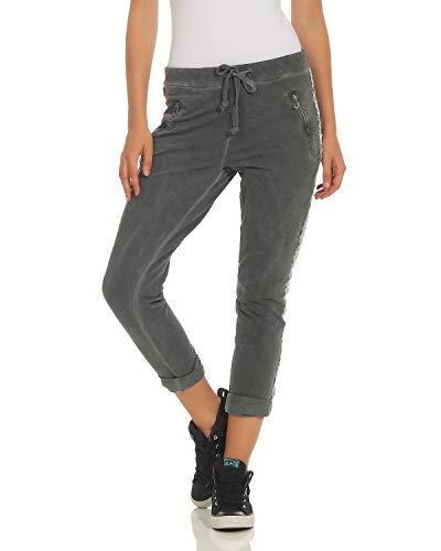 ZARMEXX Damen Hose Sweatpants Vintage Baumwolle Freizeithose mit Zierstreifen 816133 Business Casual Jogstyle