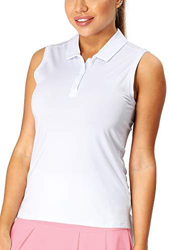 icyzone Damen Tennis Golf Bowling Polo Shirt Ärmellos Fitness Sport Top (L, Weiß)
