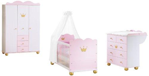 Pinolino 101655G - Kinderzimmer Prinzessin Karolin I, mit 3-türigem Kleiderschrank, Bett und Wickelkommode (ohne Textilien)