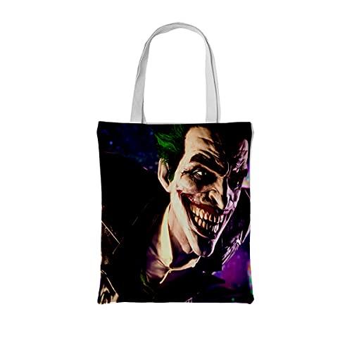 RomantiassLu Bolsa de lona de algodón Batman: Arkham Origins The Joker bolsa de transporte con estilo Bolso de compras de algodón con un solo hombro, bolso de playa, bolsas de regalo