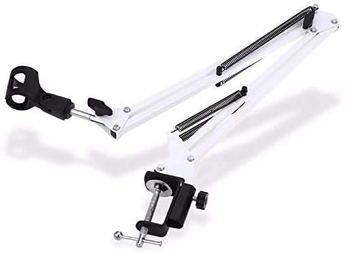TenYua NB-35 Extendable Recording Microphone Metal Suspension Boom Scissor Arm Stand Holder For Mounting On PC Laptop Notebook (white)