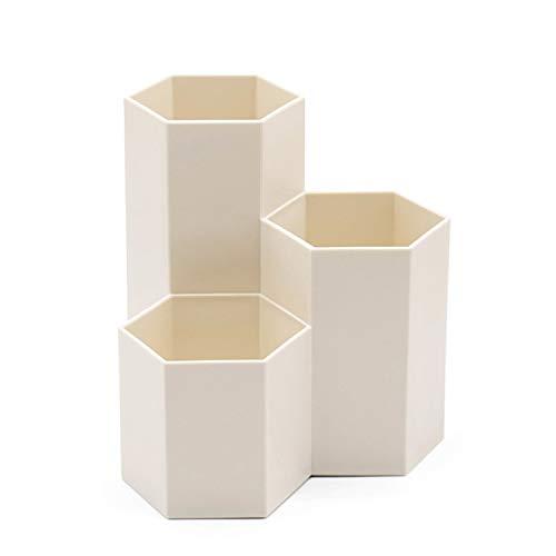 Schreibtisch Organizer 3 Fächer Hexagonal Stiftehalter Schreibwaren Lagerung Stifteköcher aus Kunststoff, Multifunktionaler Schreibtisch-Organizer für Schule Zuhause und Büro usw - Weiß