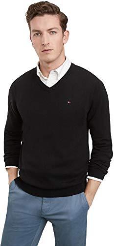 Tommy Hilfiger Men's Cotton V Neck Sweater, Black, XL