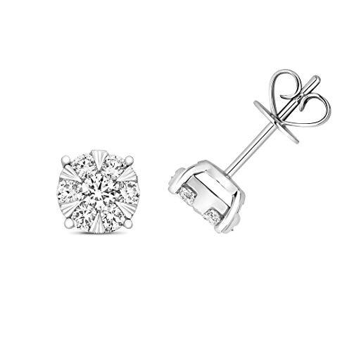 Original 18ct Oro Blanco Diamante Brillante Pendientes Nuevo