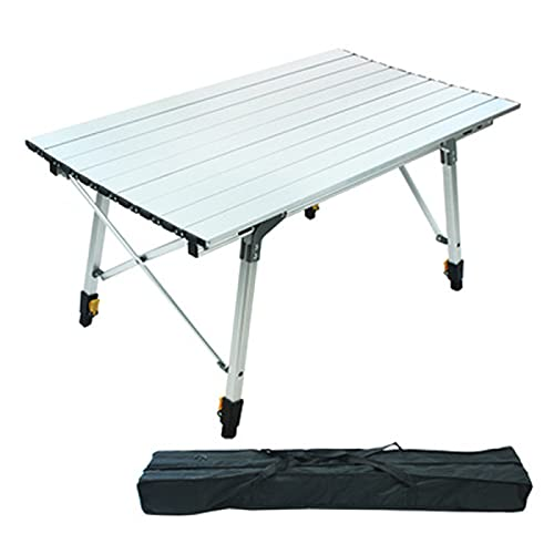 YAHAO Vikbart campingbord, utomhus bekvämt fällbart campingbord skarvning camping bordslampa lyft aluminiumlegering ägg rullbord, A