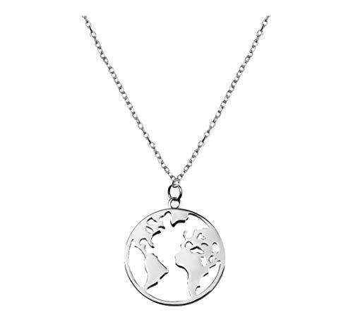 SOFIA MILANI Damen Halskette Globus Weltkarte Silber 50209