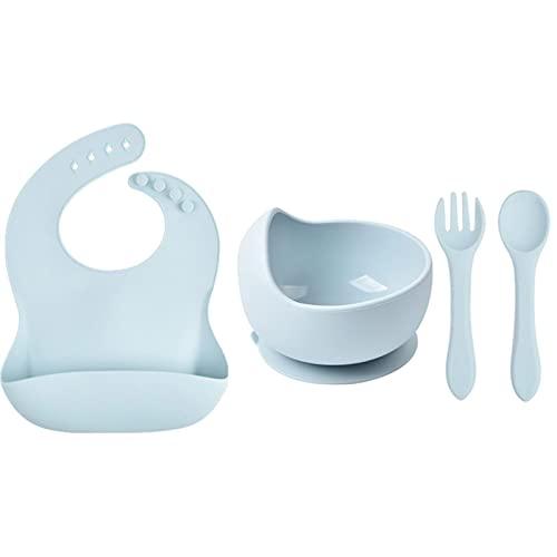 WXDC Baby Silicone Tableware, 4 Piece Children's Plate Set, Anti-Slip Bowl, Fork, Bib and Spoon, BPA-Free Silicone Bowl