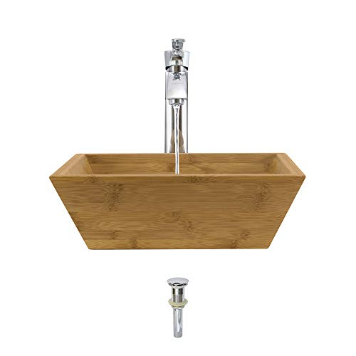 bamboo sinks 891 Bamboo Vessel Sink Chrome Bathroom Ensemble with 726 Vessel Faucet (Bundle - 3 Items: Sink, Faucet, and Pop Up Drain)