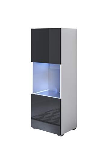 muebles bonitos Vitrina Modelo Luke V3 (40x128cm) Color Blanco y Negro con Patas estándar