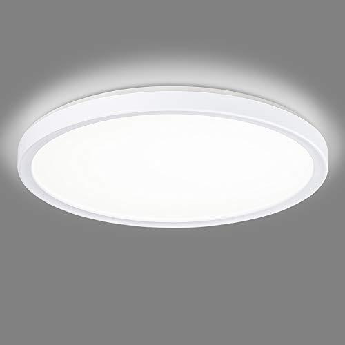 Navaris Lámpara LED de Techo - Iluminación Redonda de Ø 19 CM Moderna de bajo Consumo 12 W Efecto de luz indirecta - Eficiencia energétia Clase A