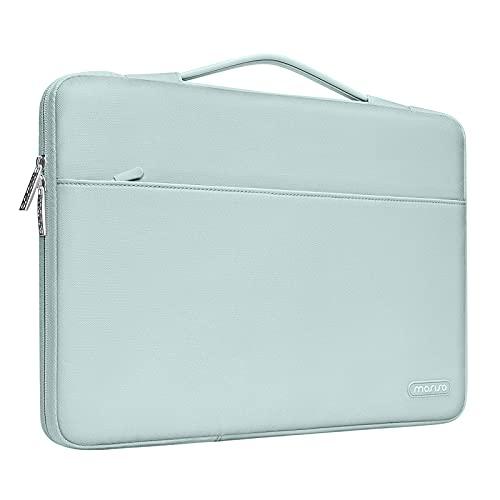 MOSISO 360 Schutz Laptop Aktentasche Kompatibel mit 13-13,3 Zoll MacBook Pro, MacBook Air, Notebook Computer, Polyester Stoßfeste Tasche mit Trolley Gürtel,Mint Green