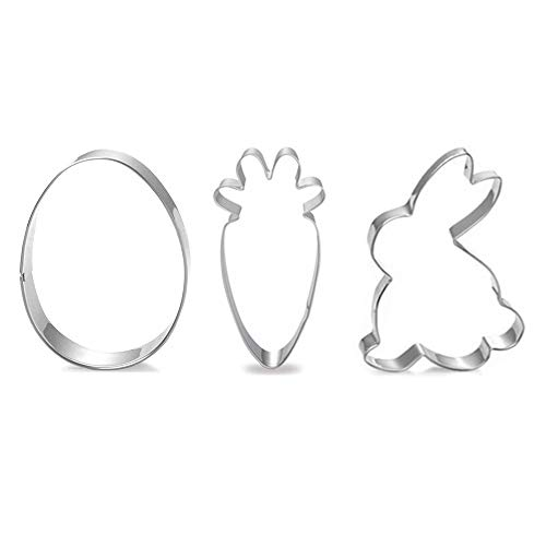 Easter Cookie Cutter Set - 3 Piece - Egg, Bunny, Carrot Cookie Cutters, Stainless Steel Biscuit Pastry Cutters
