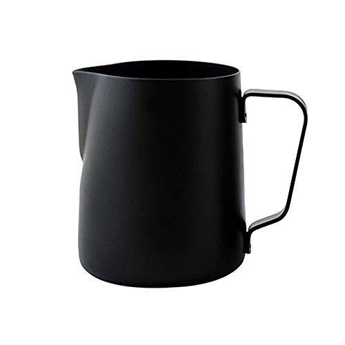 Queta Jarra de leche Jarra para emulsionar leche 350 ml acero inoxidable Jarritas para leche espumosa para café capuchino latte (negro mate)