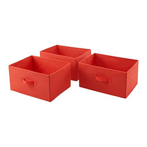 Amazon Basics Cajones de repuesto extraanchos para unidad de almacenamiento de tela con 5 cajones, rojo