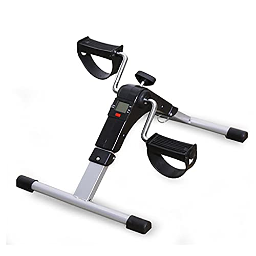 Ejercitador de pedales, bicicleta estática plegable para brazos y piernas con resistencia variable y pantalla, utilizada para restaurar la fuerza muscular/Silver / 48x36x23.3cm