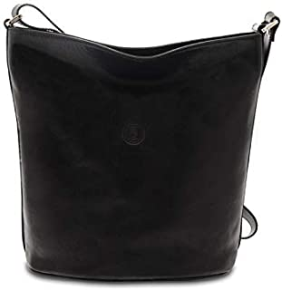 GIUDI ® - Borsa Donna in pelle vacchetta, secchiello, vera pelle, tracolla, Made in Italy. (Nero)