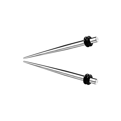 KJM FASHION 2 STK Chirurgenstahl 3mm 8g Taper schwarzen O-Ringen Ohr Taper Dernstab Lang Ohrstecker Flesh Plug Ring Expander Stretcher Piercing Schmuck 5272