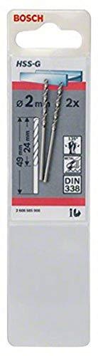 Bosch 2608585908 Din338 HSS-G Metal Drill Bit, 2.0mm x 24mm x 49mm, Silver, Pack of 2