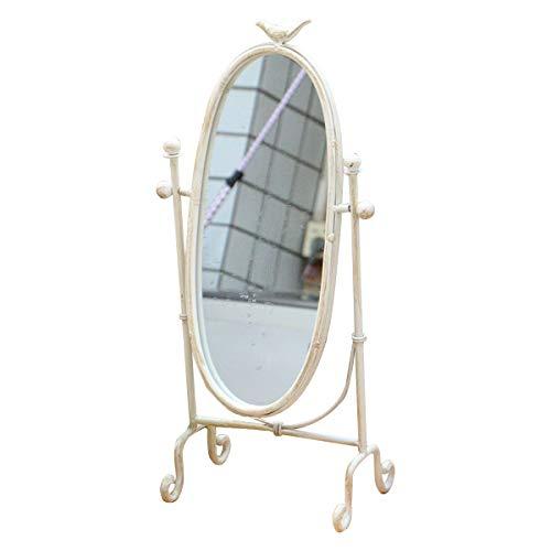 TentHome Kosmetikspiegel Vintage Spiegel Oval Shabby Schminkspiegel Drehbarer Tischspiegel Metall Lanhaus Standspiegel Tisch Rasierspiegel Dusche Ohne Bohren Badezimmerspiegel (Weiß)