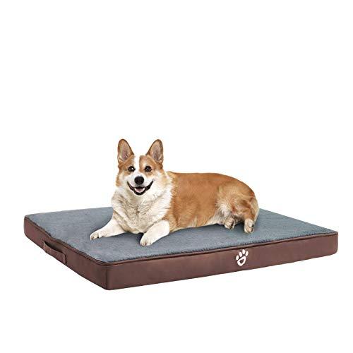 FRISTONE Orthopädisches Hundebett für Kleine Mittlere Große Hunde, Waschbar Hundematratze, Eierkistenform Schaum Hundekissen mit Abnehmbarem Bezug,XL,Braun