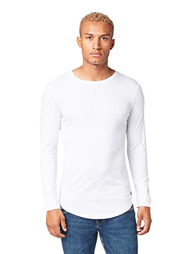 TOM TAILOR Herren Basic Langarmshirt, Weiß (White 20000), L