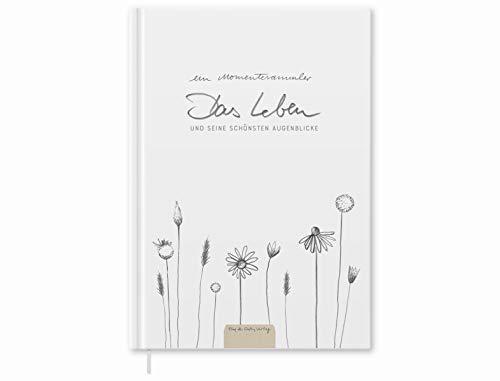 Momentesammler Eintragbuch - Das Leben und seine schönsten Augenblicke - A5 Notizbuch für Erinnerungen, Erlebnisse & Anekdoten, Weiß Beige mit Blumen, Hardcover, klimaneutral, Tagebuch, Lebensbuch